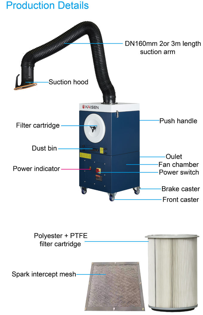1.5kW Power Portable Smoke Extractor Welding Extraction System Manual Cleaning
