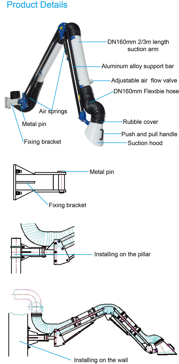 Suspended Fume Extraction Arms External Joint Suction Arm For Vent Duct System